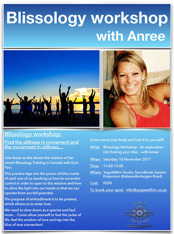 Blissology workshop with Anree Nov 2017
