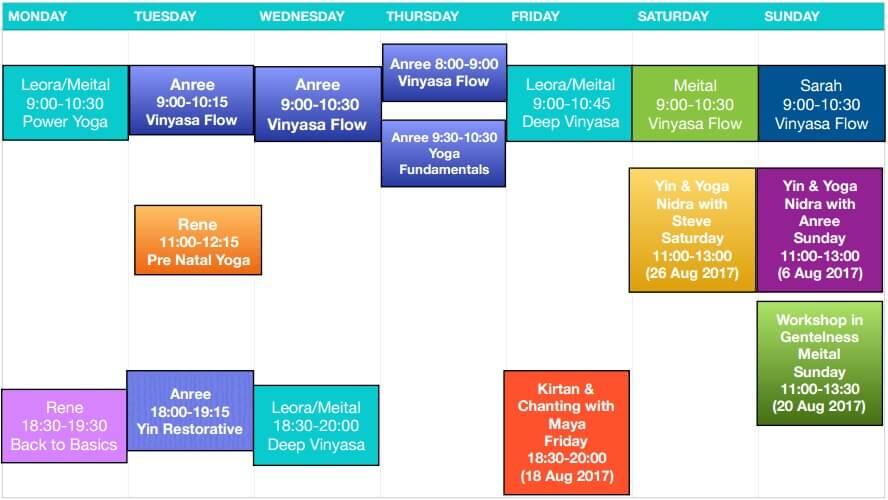 Class Schedule Aug 2017