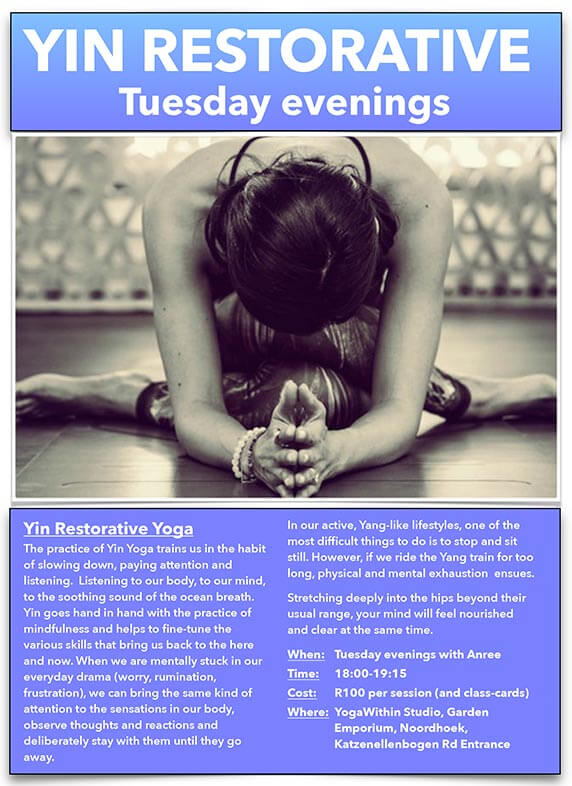 Yin Restorative with Anree July 2017