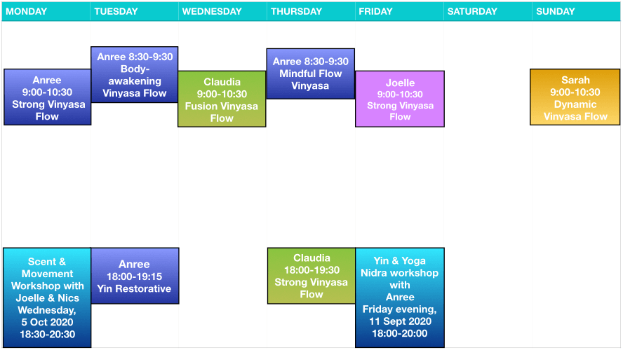 YogaWithin Schedule - September 2020