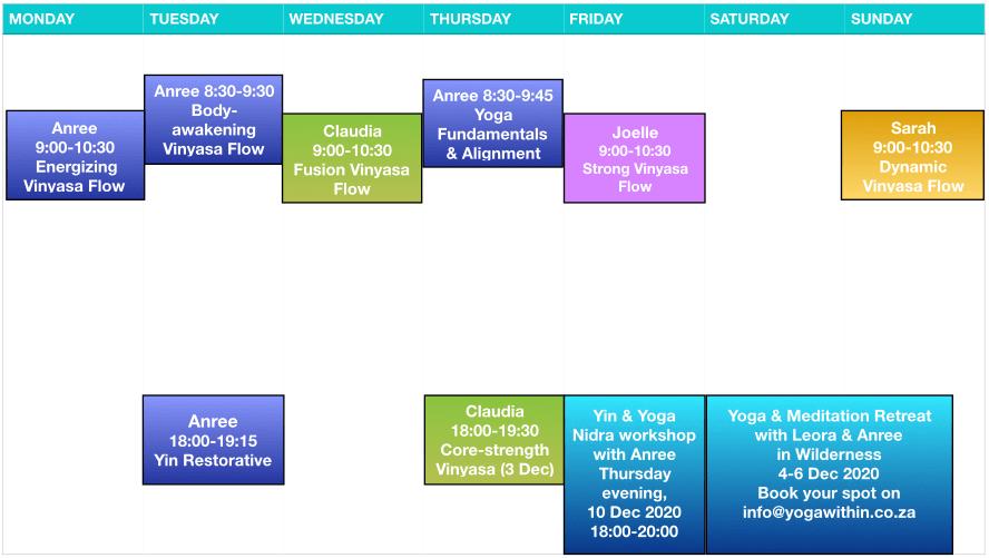 Yogawithin Schedule - Dec 2020