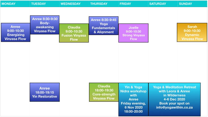 Yogawithin Schedule - Nov 2020