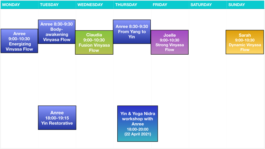 Yogawithin Schedule - April 2021