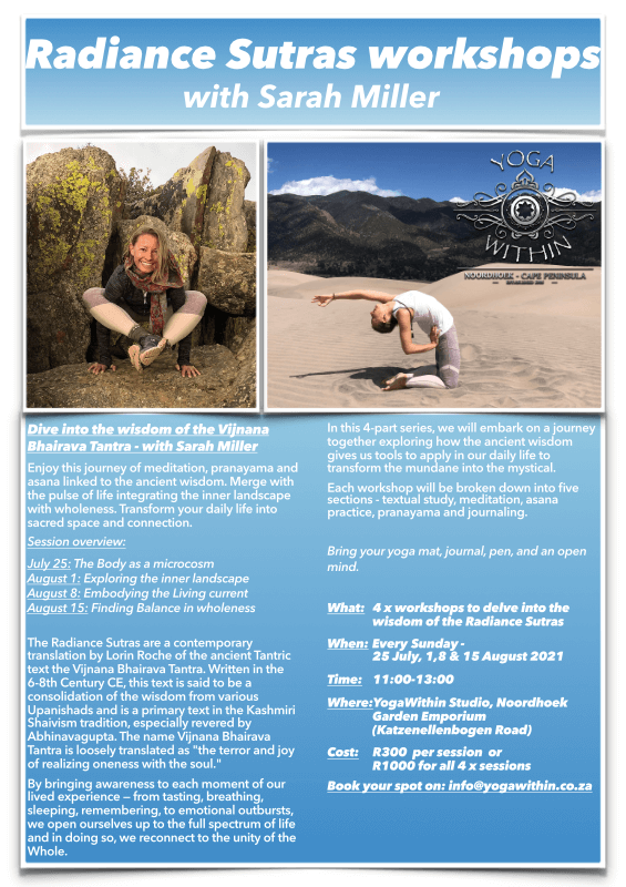 Radiance Sutra workshops with Sarah